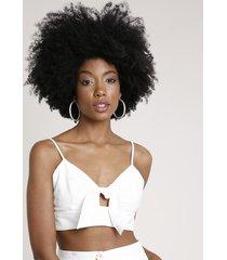 top cropped feminino com amarração e bordado de folhagens alça fina decote v off white