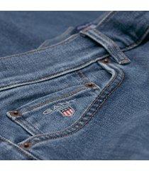 gant blauwe jeans five pocket model slim fit stretch katoen