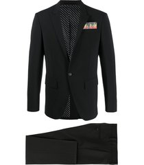 dsquared2 flame pocket square suit - black
