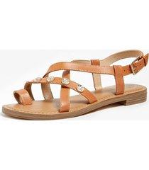 skórzane sandały na płaskiej podeszwie model giorgie