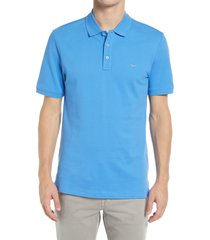 brax pete stretch cotton polo shirt, size xx-large in iced blue at nordstrom