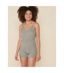 amaro feminino conjunto pijama curto tricot, cinza