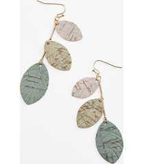 maurices womens green layered leaves drop earrings