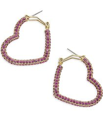 heidi daus women's goldtone & crystal hoop earrings