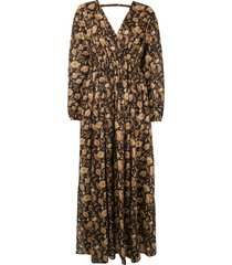 matteau ginger hibiscus open back maxi dress - brown
