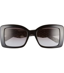 salvatore ferragamo classic 54mm gradient rectangular sunglasses - black/ grey gradient