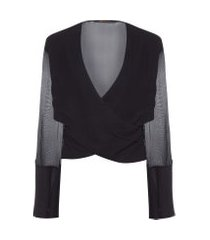 camisa feminina cruzada botões brilho - preto