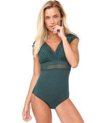 body liz renda verde - verde - feminino - viscose - dafiti