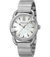 roberto cavalli by franck muller women's swiss quartz silver-tone stainless steel bracelet watch 34mm