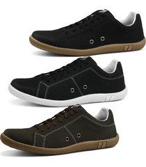 kit sapatenis sapatofran 3 pares preto cafã© e preto umber - preto - masculino - dafiti
