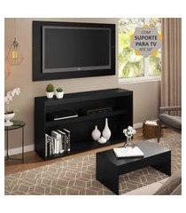 """rack com painel e suporte para tv até 50"""" com mesa de centro atualle multimóveis preto"""