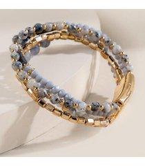 beth semi precious beaded wrap bracelet - gray