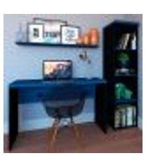 conjunto de mesa com estante e prateleira de escritório corp preto e azul