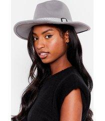 womens i spy faux wool fedora hat - grey