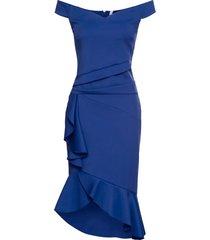 abito con spalle scoperte e volant (blu) - bodyflirt boutique