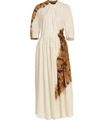artisianal tie dye viscose linen dress