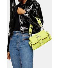 lime green nylon buckle shoulder bag - lime