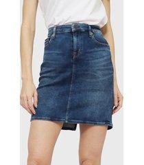 falda tommy jeans maine mid bl str azul - calce regular