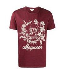 alexander mcqueen camiseta com estampa de caveira - vermelho