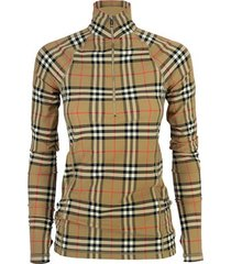 vintage check stretch jersey turtleneck top vilan