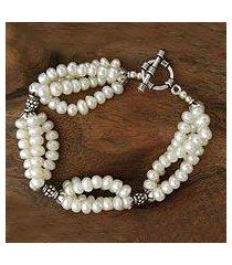 cultured pearl beaded bracelet, 'cloud song' (india)
