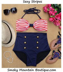 sexy stripes retro high waist swimsuits (white and red top and blue bottom) s m
