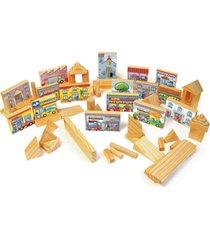 blocos de construçao e urbanismo 100 peças em madeira na mochila