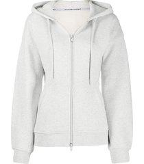 t by alexander wang fitted-waist zip-up hoodie - grey