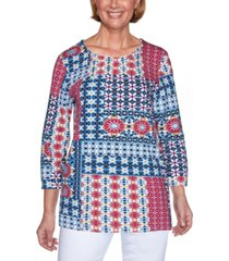 alfred dunner petite panama city ikat patchwork knit top