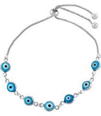 blue glass guardian eye adjustable bracelet in fine silver plated
