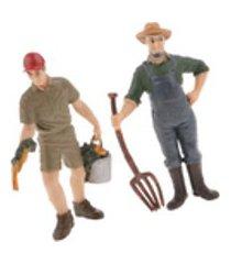 2 pçs realista masculino rancher & agricultor pessoas estatueta modelo coleção de artes