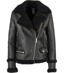 hogan biker in sheepskin black jacket