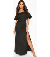 puff ball sleeve fishtail maxi dress, black