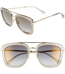 jimmy choo glossy 53mm square sunglasses in grey/gold at nordstrom