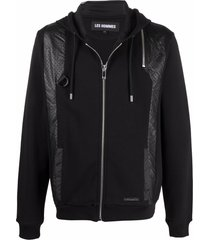 les hommes faux leather panelled zipped hoodie - black