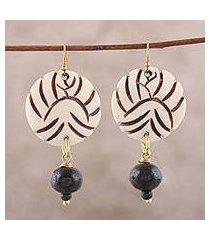 bone dangle earrings, 'round allure' (india)