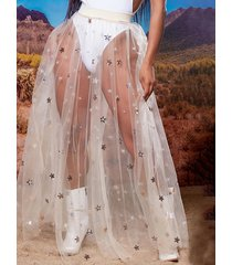 falda de cintura elástica con diseño de estrella plisada blanca