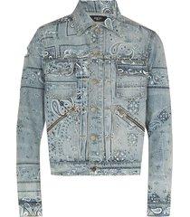 screen print bandana trucker jacket, clay indigo
