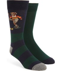 men's polo ralph lauren 2-pack rugby kicker bear socks, size one size - burgundy