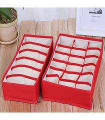 paño de oxford descubrieron con cremallera bra caja de almacenamiento caja organizador de dos piezas rojo