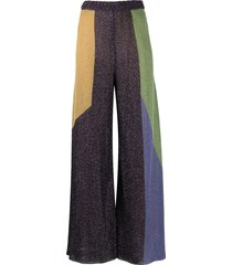 m missoni color block flared lurex trousers - purple