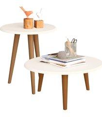 conjunto para sala de estar lyam decor mesa de centro e lateral off-white