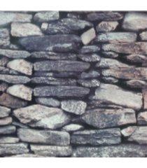 kit 3 rolos de papel de parede fwb lavã¡vel 3d pedra rustico cinza - cinza - dafiti