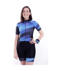 macaquinho de ciclismo manga curta wise sports plan azul