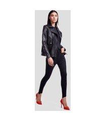 calca basic skinny high jeans escuro - 42