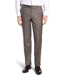 men's ted baker london jefferson flat front wool dress pants, size 34 x unhemmed - grey