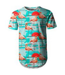 camiseta longline over fame flamingos azul