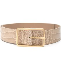 b-low the belt embossed croc-effect belt - neutrals