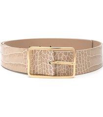 b-low the belt embossed croc-effect belt - neutrals