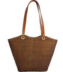 bolsa de praia artestore em palha de buriti com alça de ombro palha marrom